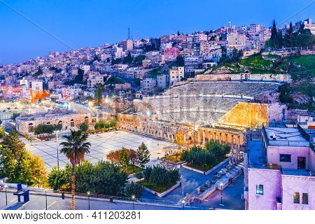 Amman, Jordan. View Of The Roman Theater And The City Of Amman, Ancient Roman Empire.
