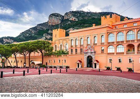 Monaco-ville, Monaco - July 2018: The Sovereign Prince Of Monaco Palace.
