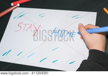 Child School Guy Drawing Stay Home Slogan On A Paper In Covid19 Pandemic Disease, Kids Care