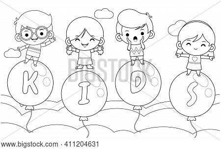 Illustration Vector Graphic Of Coloring Book For Kids. Coloring Book For Kids. 4 Happy Kids On Flyin