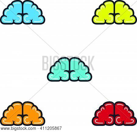 Brainy Illustration Full Color Abstract With Outline