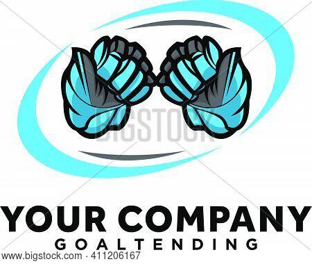 Hockey Sport Logo Designs With Blue Gloves Esports