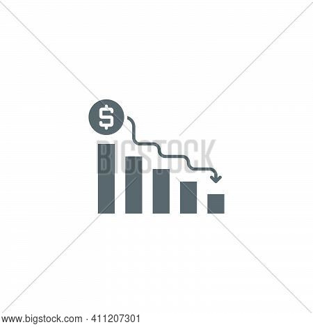 Declining Graph Vector Icon Business Decline Chart Filled Flat Sign For Mobile Concept And Web