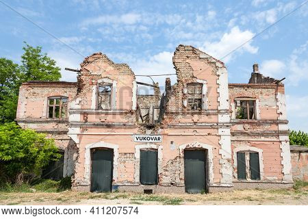 Vukovar Train Station, Heavily Ruined And Damaged Following The Serbia Croatia War. The City Became