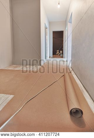 A New Apartment Repair Finishing Works In Progress, Plastering, Painting And Flooring Construction