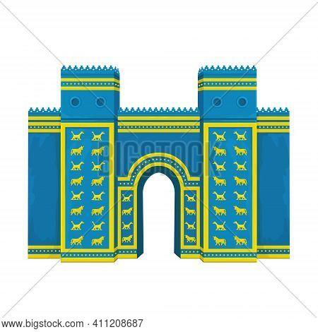 Cartoon Color Drawing: Ishtar Gate. Ancient Sacred Temple. Symbols Of Babylon, Assyria, Mesopotamia.