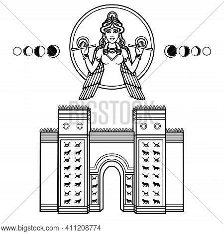 Cartoon Linear Drawing: Ishtar Gate. Ancient Sacred Temple. Portrait Of Goddess, Phase Of The Moon.