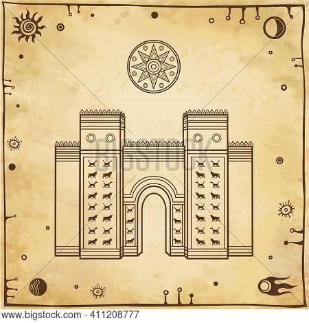 Cartoon Linear Drawing: Ishtar Gate. Ancient Sacred Temple. Symbols Of Babylon, Assyria, Mesopotamia