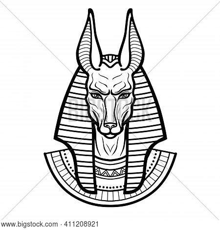 Animation Portrait Ancient Egyptian God Anubis. Deity With Canine Head. God Of Death. Vector Illustr