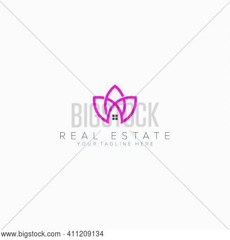 Real Estate Lotus And Feminine Logo Designs Line Lotus