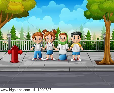 Cartoon Illustration Of The Student At The Roadside