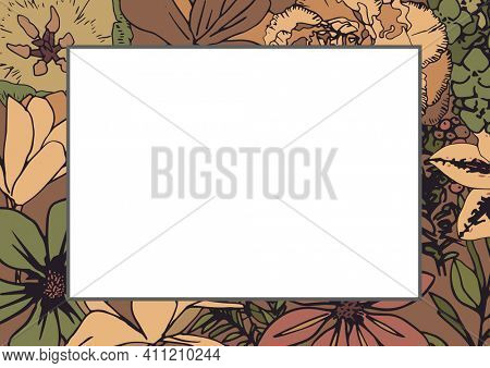 White rectangle in frame with copy space on floral background. writing background concept digitally generated image.