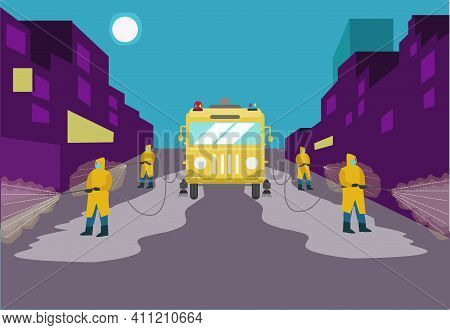 Decontamination Of Streets In A Neighborhood Concept. Personnel Sprays Disinfectant In A Street. Edi