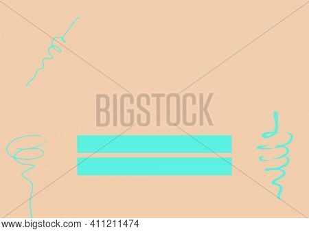 Turquoise abstract shapes and two turquoise rectangles with copy space on cream background. colour and writing space concept digitally generated image.