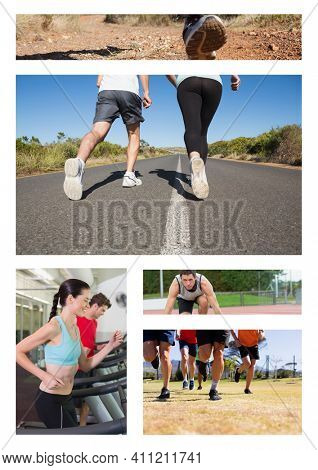 Combination of five photos of people jogging and exercising outdoors. fitness and healthy lifestyle concept digitally generated image.