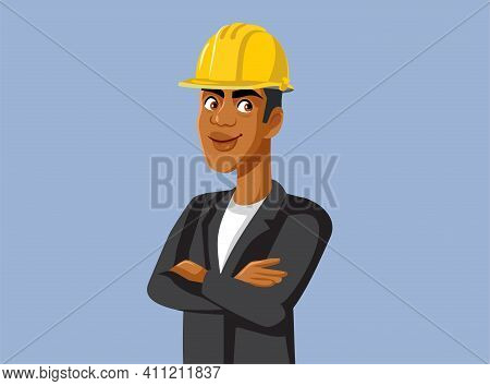 Male Contractor Wearing Hard Hat Standing With Arms Crossed