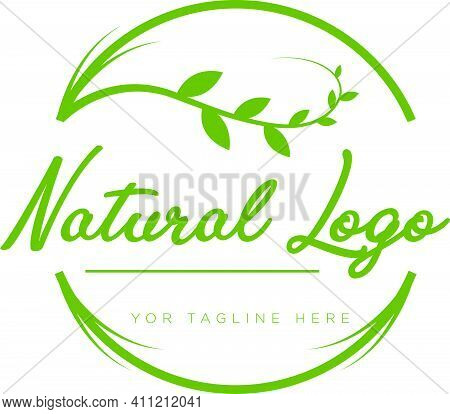 Natural Logo Design With Leaf Modern Style Typography Circle