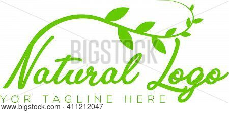 Natural Logo Design With Leaf Modern Style Typography Lettering Logo