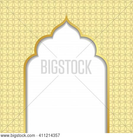 Ramadan Kareem Or Eid Al Fitr, Background With Golden Arch, With Golden Arabic Pattern, Background F