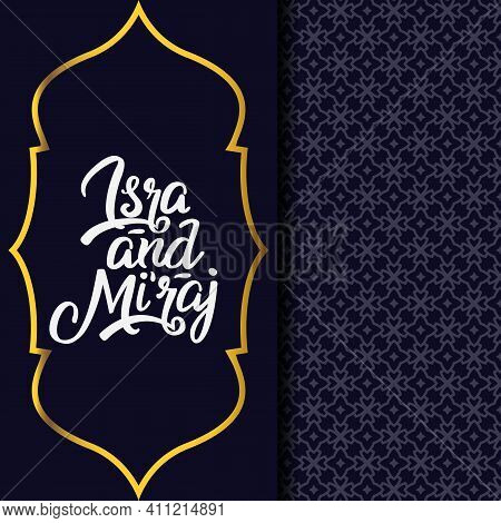 Greeting Card Isra' Mi'raj With Two Element Pattern And Template Mosque