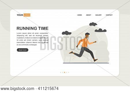 A Man Is Engaged In Sports Running In The Park. Vector Illustration
