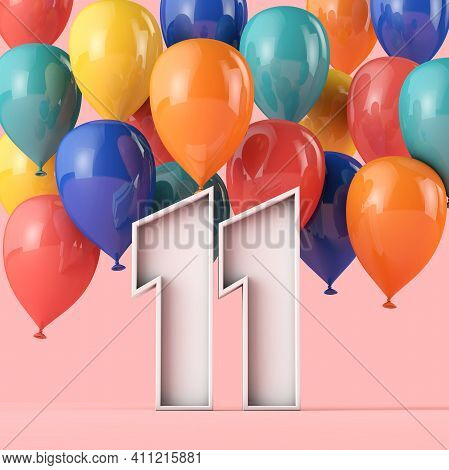 Happy 11th Birthday Background With Colourful Balloons. 3d Rendering