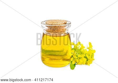 Oil Mustard In A Jar With Flower