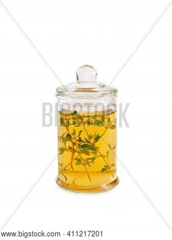 Oil Or Vinegar With Thyme In Jar