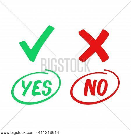 Flat Vector Illustration Of A Yes Or No Option Icon. Suitable For The Design Elements Of A Choice, A