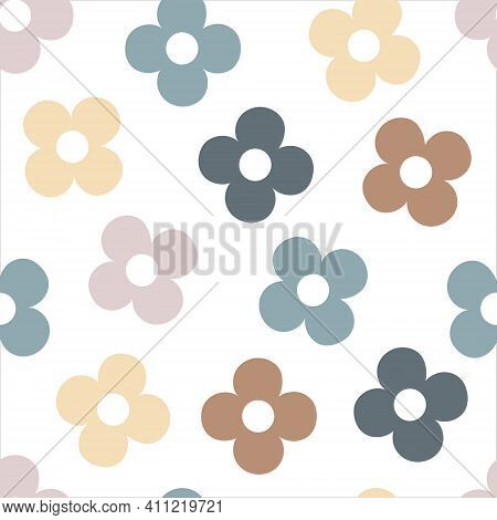 Doodle Flowers In Pastel Colors On White Background. Hand Drawn Floral Vector Seamless Pattern. Deli