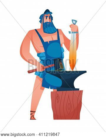 Hephaestus. Ancient Greek God With A Hammer In One Hand And A Sword In The Other. The Anvil Is In Th