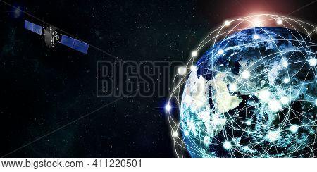 Internet Satellites Orbit The Earth Satellite Technology Communication Concept 3d Illustration