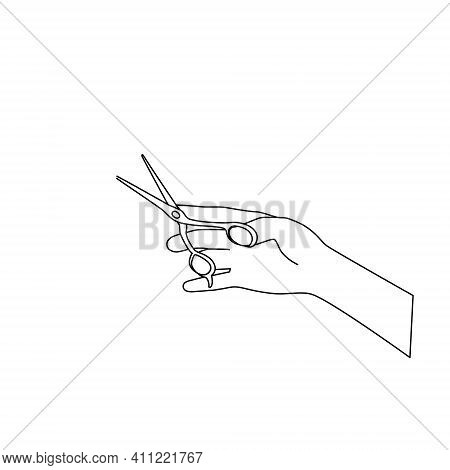 The Outline Of The Scissors In Your Hand. The Barber Holds The Tool. Sketch, Doodle, Black Line On A