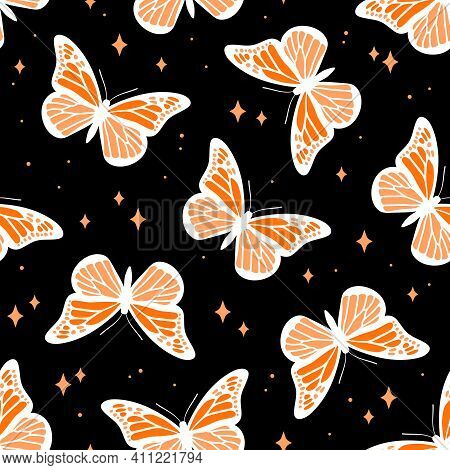 Seamless Pattern With Butterflies On Black Background. Contemporary Composition For Print. Hand Draw