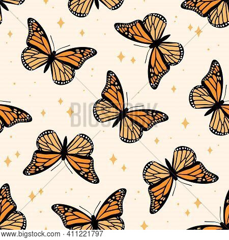 Seamless Pattern With Monarch Butterflies. Contemporary Composition For Print. Hand Drawn Vector Ill