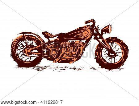 Motorcycle. Emblem Of Biker Club. Vintage Style. Monochrome Design.