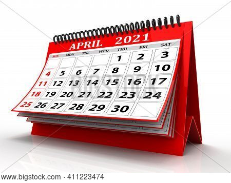 3d Desktop Calendar April 2021 Isolated In White Background, April 2021 Spiral Calendar