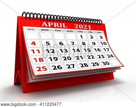 3d Desktop Calendar April 2021 Isolated In White Background, April 2021 Spiral Calendar