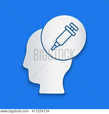 Paper Cut Addiction To The Drug Icon Isolated On Blue Background. Heroin, Narcotic, Addiction, Illeg