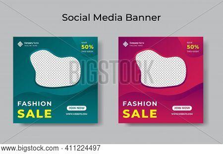 Fashion Sale Social Media Post Design Template Bundle Premium Vector Editable  Social Media Banners