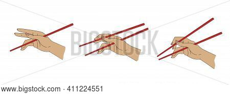 How To Use Chopsticks, Simple Vector Illustration Guide