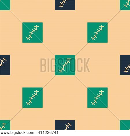 Green And Black Scar With Suture Icon Isolated Seamless Pattern On Beige Background. Vector