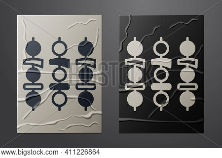 White Grilled Shish Kebab On Skewer Stick Icon Isolated On Crumpled Paper Background. Meat Kebab On