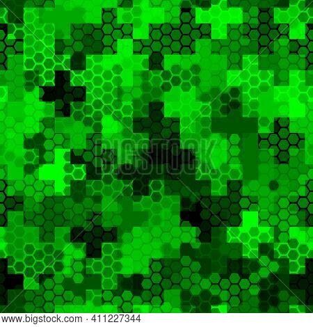 Crosses, Hexagons, Pickets Pavement Seamless Ornament. Mosaics Wallpaper