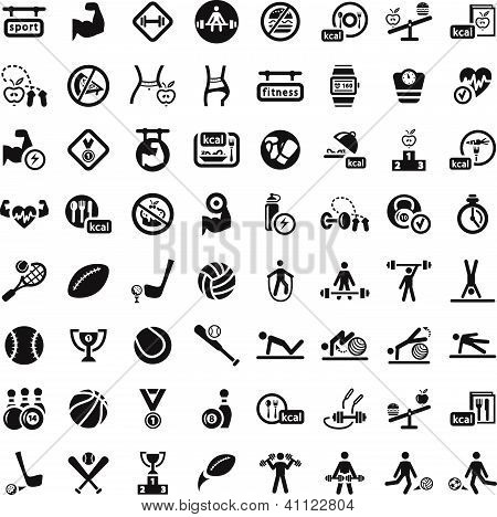 64 Fitness and Sport vector icons for web and mobile. All elements are grouped. poster