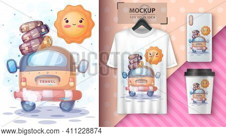 Cute Travel With Sun Poster And Merchandising. Hand Draw