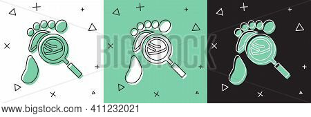 Set Magnifying Glass With Footsteps Icon Isolated On White And Green, Black Background. Detective Is