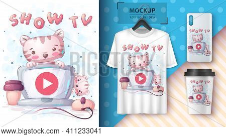 Cat Is Watching A Movie On The Computer Poster And Merchandising. Vector Eps 10