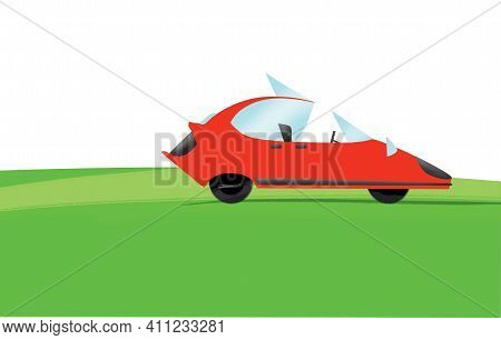 Red Concept Car With Open Door On Green Grass. Illustration, Flat Design