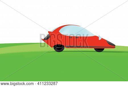 Red Concept Car On Green Grass. Illustration, Flat Design